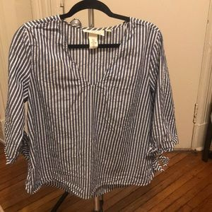 H&M Striped Blouse with Tie Details